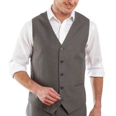 JF J. Ferrar® Gray Sharkskin Vest  found at @JCPenney