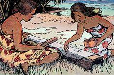 1929 Book Illustration, Two Hawaiian women pounding tapa by artist Juliet May Fraser.