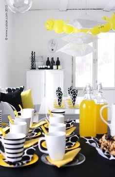 Black, white and yellow