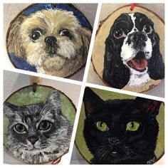 Hand Painted Pet Portrait on Wood Slice - Mini Picture or Ornament by TheBackyardBear on Etsy Pet Portraits, Portrait Ideas, Picture On Wood, Wood Slices, Your Pet, Owl, Arts And Crafts, Woodworking, Hand Painted