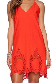 Hollow Out Backless Spaghetti Strap Dress