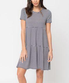 Navy Stripe Tiered Shift Dress #zulily #zulilyfinds