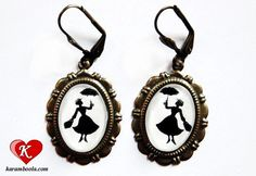 Miss Poppins Silhouette Earrings bronzecolored by karamboola