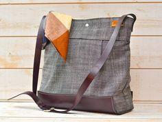 Waterproof  Dark plum Leather Messenger Bag / Diaper bag / Travel bag / handbag in black ecru linen by ikabags on Etsy
