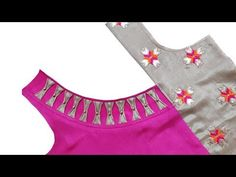बचे कपड़े से कुर्ती का सुन्दर डिजाइन बनाने का तरीका ♥ Kurti neck designs cutting and stitching - YouTube Churidhar Neck Designs, Neck Designs For Suits, Blouse Back Neck Designs, Neckline Designs, Fancy Blouse Designs, Hand Designs, Salwar Kameez Neck Designs, Kurta Neck Design, Stylish Dress Designs