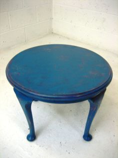 Solid wood antique table painted a vibrant blue top coat and deep red and purple undercoats & aged all over. Finished with several coats of wax and buffed  | eBay