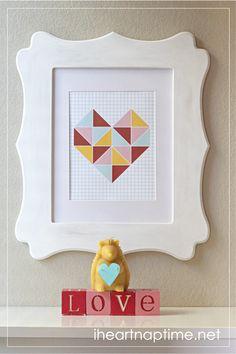 Geometric heart wall art printable on iheartnaptime.com