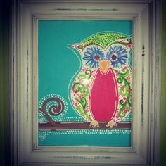 Owl painting, baby nursery, girl