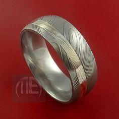 Damascus and 14k WHITE GOLD Mokume Gane Ring by StonebrookJewelry, $598.92