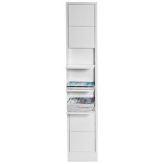 Klaffi shelf large, white 36cmx(6)25cmx190cm $540. I would drill a hole through the lower shelf for an umbrella holder and I would attach some hooks for keys, sunglasses, gloves or hats etc. to make it work in an entryway. This is also great on either side of a bed instead of traditional bedside tables, if the shelves are moveable I would hack a sconce onto it.