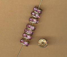 vintage pink rondelles rhinestone rondelles, patinaed goldtone core, 7mm, patinaed, TEN rondelles antique vintage spacers by beadtopiavintage on Etsy