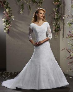 7 terrific modest wedding dress with three quarter sleeves (12)
