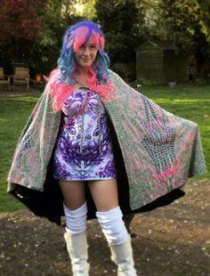 9d16a4ff6d43 Hooded Cape   Acid Dragonfly Printed cape with Pixie Hood. Fully lined with  black fabric. Artwork by Space Tribe