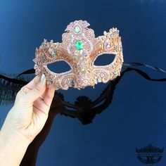 Masquerade Mask, Lace Masquerade Mask, Masquerade Ball Masks, Mask, Mardi Gras Mask, Lace Mask,Masquerade Ball Mask [Rose Gold w/ Gems] by 4everstore on Etsy https://www.etsy.com/listing/221264138/masquerade-mask-lace-masquerade-mask
