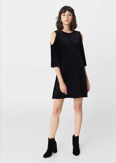 Velvet off-shoulder dress | MANGO