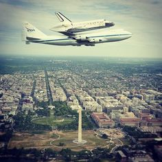 Yesterday, Space Shuttle Discovery, atop a 747 Shuttle Carrier Aircraft, did a flyover of the Washington, DC area on its way to the National Air and Space Museum