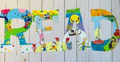 Letter Set, Letter Wall, Storybook Nursery, Laminate Wall, Painting Wooden Letters, Character Letters, Alphabet Wall, Book Letters, Cat Birthday