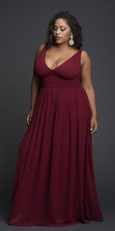 fb91311fc26fa Plus Size Plunging Maxi Dress - Plus Size Party Dress - Plus Size Wedding  Guest Dress
