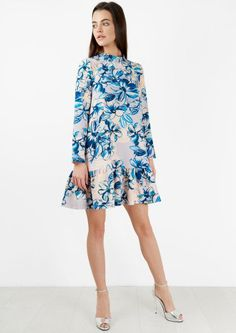Pep Hem Blue Floral Long Sleeved Dress