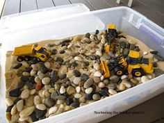 Andrew would love this.  You could change out the trucks for bugs and other creatures too.  Or stick them all together.  Construction bugs!