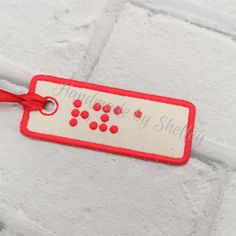 personalised braille tags - personalised embroidery - personalised luggage tags - bookmarks - personalised bag tags - made to order Personalized Luggage Tags, Bsl, Picture Sizes, Fun Prints, Travel Bag, Pajama Set, Printed Shirts, My Design, Embroidery
