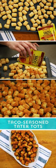 Need a party snack to feed your hungry game day crowd? These Taco-Seasoned Tater Tots are sure to please! They pack all the taco flavor you loves - in the perfectly crunchy tater tot you crave! Just sprinkle your favorite Old El Paso Taco Seasoning™ over still-frozen tater tots, and bake! With just 2 ingredients, and 2 easy steps, these tasty tots are ready to eat in just 35 minutes!