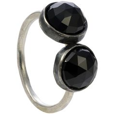 Two velvet black spinels adorn this simple but powerful gemstone ring. The side-by-side stones look out of the ordinary. Black Spinel, Matching Necklaces, Black Love, The Ordinary, Confidence, Two By Two, Finger, Gemstone Rings, Stones