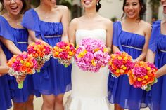 Beautiful Bright Flowers with Blue Bridesmaid Dresses !