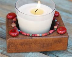Candle Holder with Coral