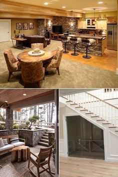 Basement Kitchen & Rustic Basement Remodel & Cool Basements On A Budget- Coo& Source by summerhairrCare The post Basement Kitchen Basement Remodel Cost, Basement Remodeling, Basement Ideas, Rustic Basement, Basement Kitchen, Basement Living Rooms, Living Room Decor, Peel And Stick Wood, Cement Walls