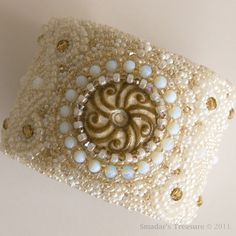 Beaded Cuff Bracelet with Cabochon in Cream by SmadarsTreasure