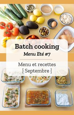 Batch cooking summer # 7 - Batch cooking (menu and recipes) for the week of September 2 to 2019 - Meat Appetizers, Vegetarian Appetizers, Appetizer Recipes, Vegetarian Recipes, Cooking Recipes For Dinner, Healthy Breakfast Recipes, Healthy Recipes, Low Carb Diets, Batch Cooking