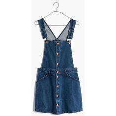 MADEWELL Denim Skortalls ($110) ❤ liked on Polyvore featuring stevie wash, short overalls, long skorts, denim short overalls, golf skirt and madewell
