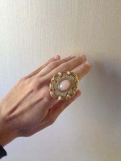 Repurposed Cocktail Brooch Statement Ring in Pink & by ZiLLAsQuEeN, $28.00