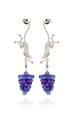 18K White Gold Monkey Earrings With Raw Sapphires by Marc Alary, Fall-Winter 2014 (=)