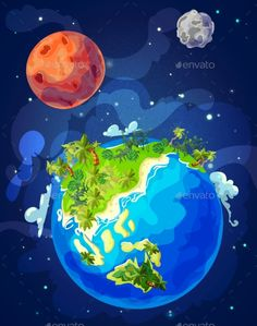 Buy Cartoon Natural Earth Globe Template by VectorPot on GraphicRiver. Cartoon natural Earth globe template with tropical landscape mars planet moon stars in space vector illustration. Nature Illustration, Landscape Illustration, Character Illustration, Cartoon Art, Moon Globe, Planet Vector, Moon Vector, Globe Vector, Pixel Art