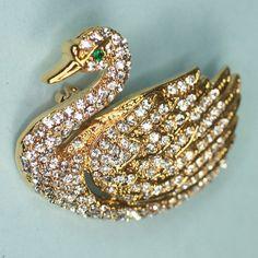 Vintage Rhinestone Swan Pin Brooch by PastSplendors on Etsy, $26.00