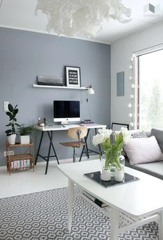 tikkurila living room - 2019 living room grey,room wall colors j Blue Grey Walls, Blue Painted Walls, Light Grey Walls, Grey Light, Grey Accent Walls, Light Grey Paint, Dark Walls, Bluish Gray, White Walls