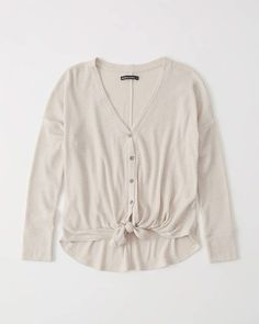 00184e835 Tie-Front Button-Up Top #top#tie#button Front Button,