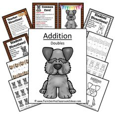 Quick and Easy Center and Printables - Addition Doubles - Puppy Themed #TPT $Paid
