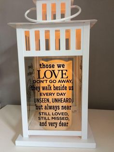 Items similar to Personalised, Memorial Lantern on Etsy Memorial Ornaments, Memorial Gifts, Memorial Ideas, Christmas In Heaven, Christmas Crafts, Vinyl Crafts, Vinyl Projects, Kelly Wearstler, Plywood Furniture