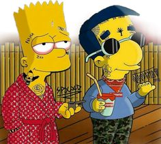 #freetoedit#Bart and Milhouse ☠️ #remixit Mickey Mouse Wallpaper Iphone, Simpson Wallpaper Iphone, Flower Phone Wallpaper, Iphone Background Wallpaper, Cartoon Wallpaper, Simpsons Drawings, Simpsons Art, Cartoon Drawings, Cool Nike Wallpapers