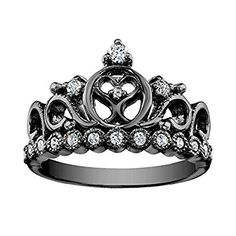 Stunning Black Princess Heart Crown CZ Ring in Black Rhodium 14K White Gold