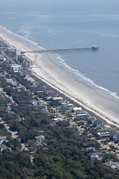 folly beach sc | Folly Beach South Carolina Aerial Print by Dustin K Ryan