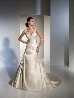 Sexy Deep V- neck Off-the-shoulder Hollow Back Taffeta A-line Wedding Dress WD1366 www.tidebridaldresses.com $239.0000
