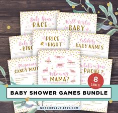 Pink and Gold Baby Shower Games Printable Package Girl Baby