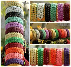 """✿ I call these macrame bracelets """"Γλαυκομάτες"""" which one of the meanings is """"Shiny owl eyes"""". Looks like many owl shiny beaded eyes are looking at you! I love this design (from Macrame School videos) so much i just can't stop until i make them in all the colors i can...!!! Here you can see them in gold, silver, black, light green, light purple, burgundy, beige, green, bordo, orange, pink and purple. #evangelilies #macrame #micromacrame #micromacramejewelry #macramejewelry #macramebracelet…"""