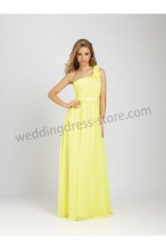 Shine Yellow One Shoulder Chiffon Bridesmaid gown 3016