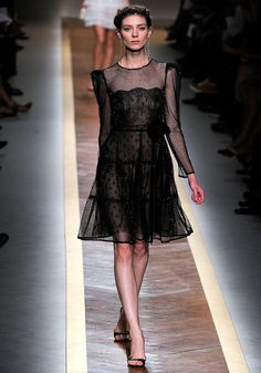 Valentino -love the scallop neckline with the combo of the outer fabric and neckline and polka dots!