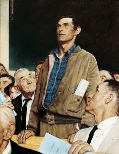 """Freedom of Speech, Norman Rockwell Story illustration for ""The Saturday Evening Post,"" February Norman Rockwell Museum Collections. - Norman Rockwell Museum - The Home for Ameri Peintures Norman Rockwell, Norman Rockwell Art, Norman Rockwell Paintings, Norman Rockwell Four Freedoms, Museum Of Fine Arts, Art Museum, Art Et Nature, American Illustration, Illustration Art"